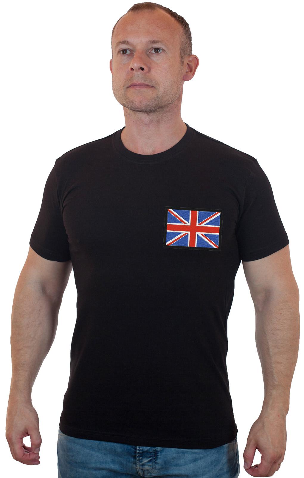 Строгая мужская футболка с вышивкой Флаг Великобритании