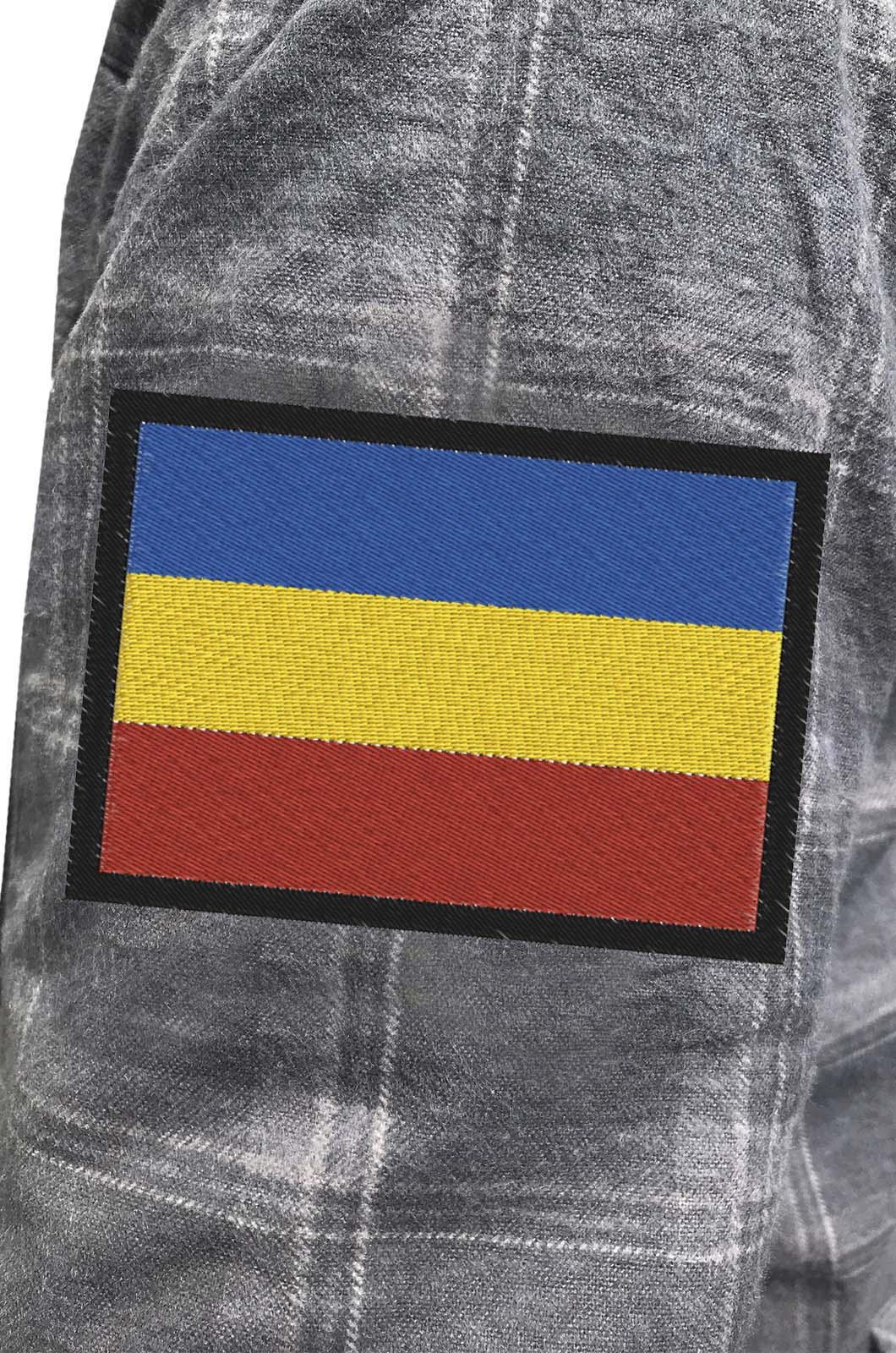Строгая мужская рубашка с вышитым шевроном Казачий Флаг - купить в Военпро