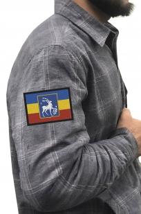 Строгая рубашка с вышитым казачьим шевроном Елень - купить по низкой цене