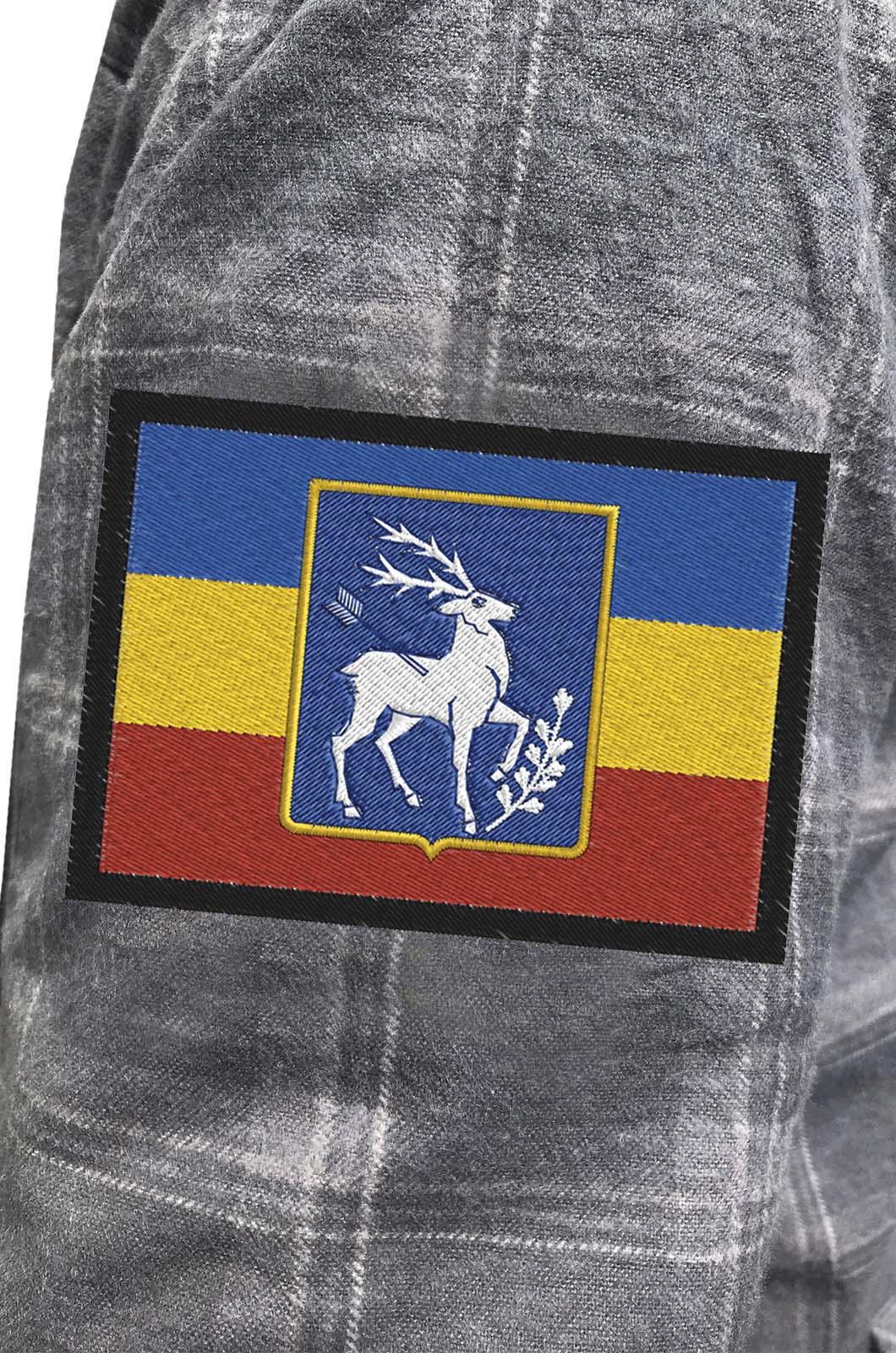 Строгая рубашка с вышитым казачьим шевроном Елень - купить в подарок