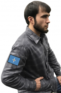 Строгая рубашка с вышитым шевроном МЧС России - купить в Военпро