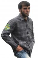 Строгая рубашка с вышитым шевроном Морчасти Погранвойск