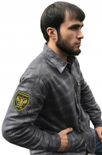 Строгая рубашка с вышитым шевроном Охотничьи Войска - заказать в подарок