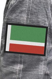Строгая серая рубашка с вышитым флагом Чехии - купить в розницу