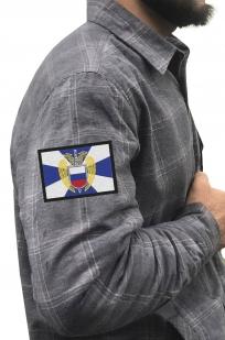Строгая серая рубашка с вышитым шевроном ФСО - купить в Военпро
