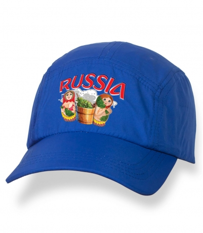 Строгая синяя бейсболка с термотрансфером Russia