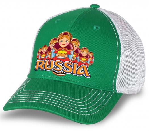 """Супер-бейсболка """"Russia"""" для болельщиков и патриотов! Яркая бело-зеленая модель в популярном дизайне. Лучшее качество! Заказывайте в подарок или для себя!"""