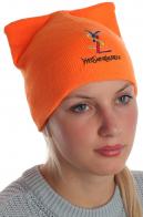 Супермодная с ушками шапка Yves Saint Laurent насыщенного оранжевого цвета
