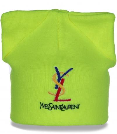 Супермодная женская шапка с изумительными ушками Yves Saint Laurent отменный выбор на межсезонье