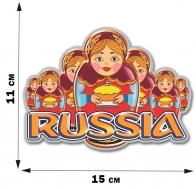 """Сувенирная наклейка """"Русские матрёшки"""" (11x15 см)"""
