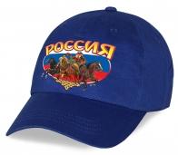 Сувенирная синяя патриотическая бейсболка с оригинальным принтом Россия «Мишка с гармонью на тройке» от дизайнеров Военпро. Мы предлагаем только лучшее!