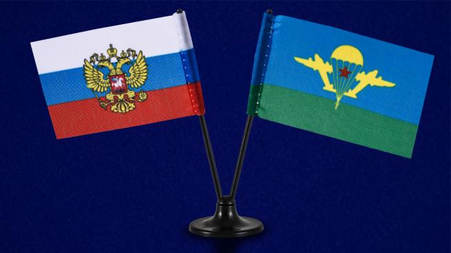 Сувенирный двойной флажок России и ВДВ СССР