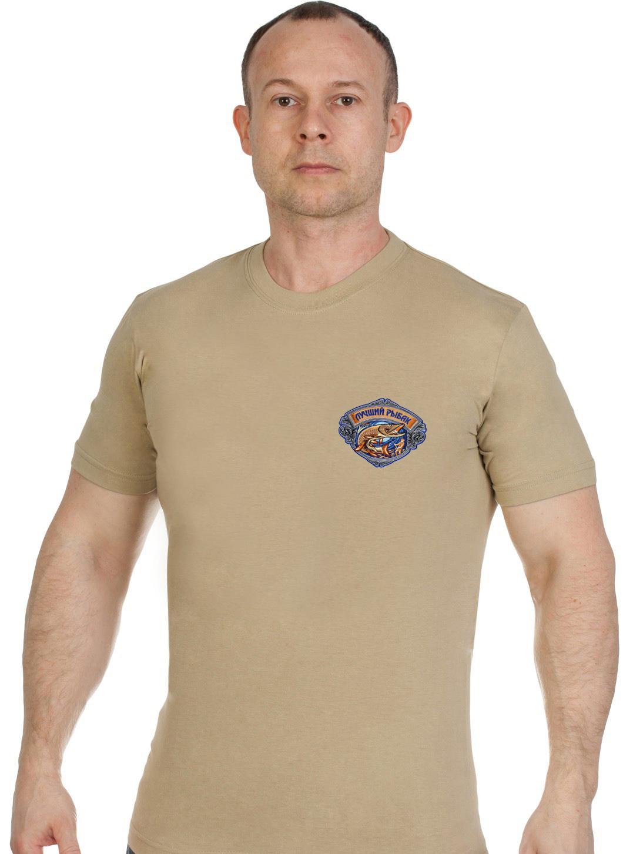 Купить светлую мужскую футболку с вышивкой Лучший Рыбак оптом или в розницу
