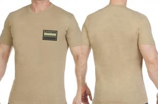 Светлая оригинальная футболка с вышитым полевым шевроном Россия - заказать в подарок