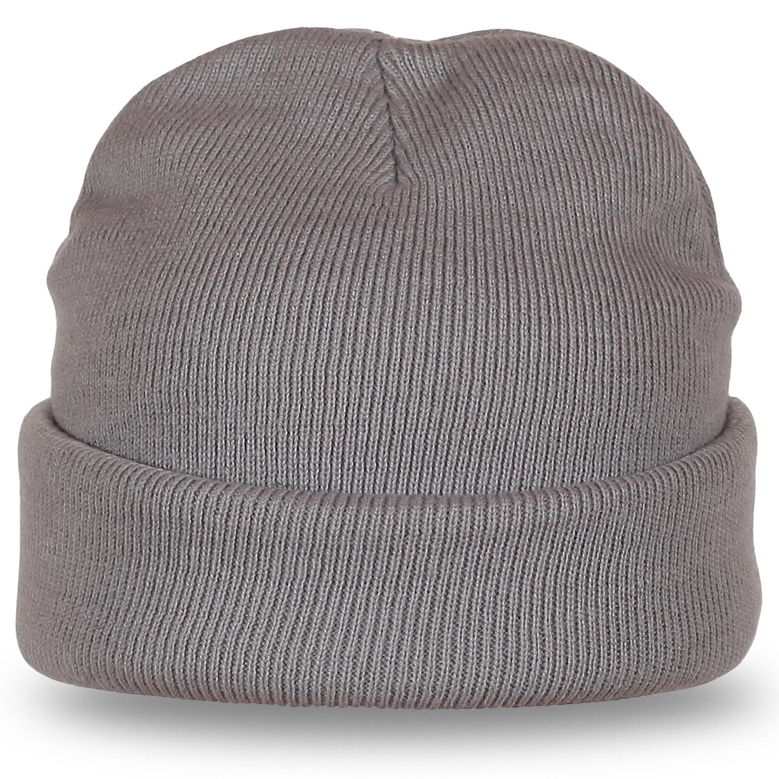 Светлая шапка с подворотом - теплая вязаная модель отличного качества