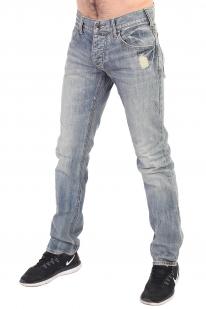 Светлые мужские джинсы с потертостями