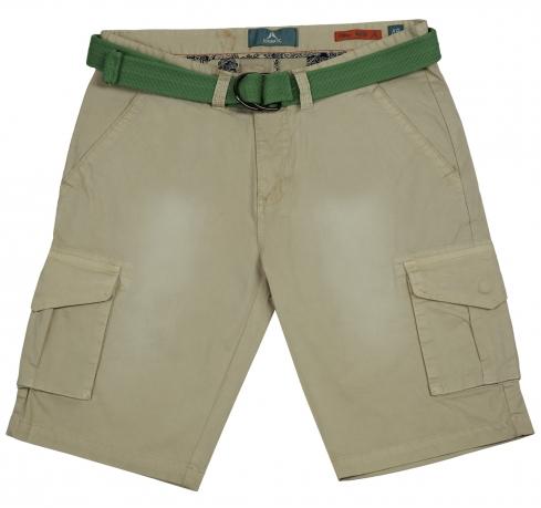 Светлые шорты Automatic с зеленым ремнем. Модель для стильных парней!