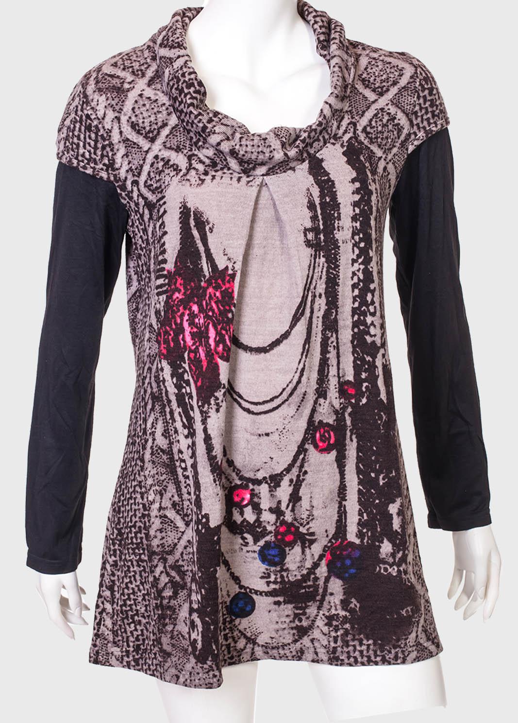 Свободное трендовое платье-туника с воротом хомут