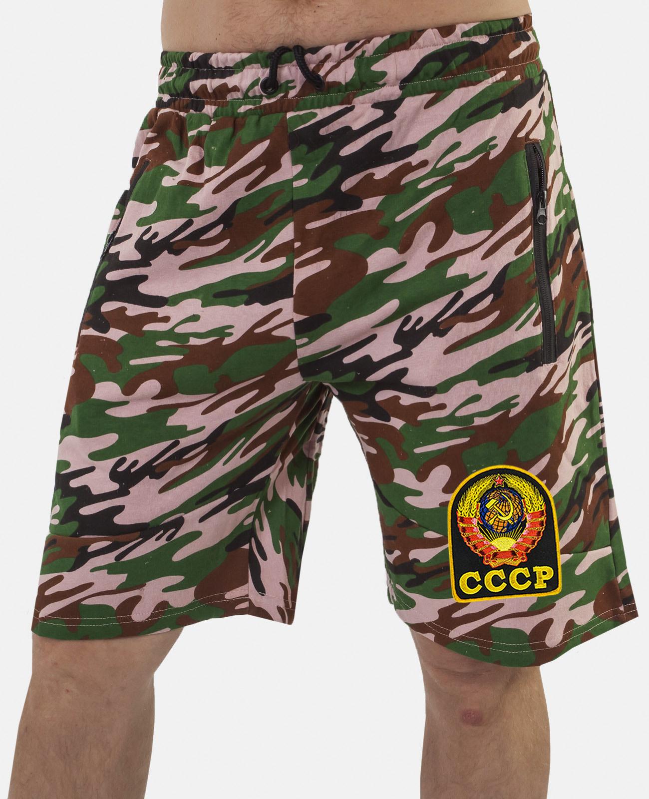 Купить свободные шорты удлиненного фасона с нашивкой СССР в подарок с доставкой