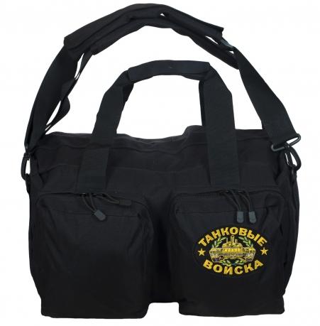 Тактическая черная сумка-рюкзак с нашивкой Танковые Войска