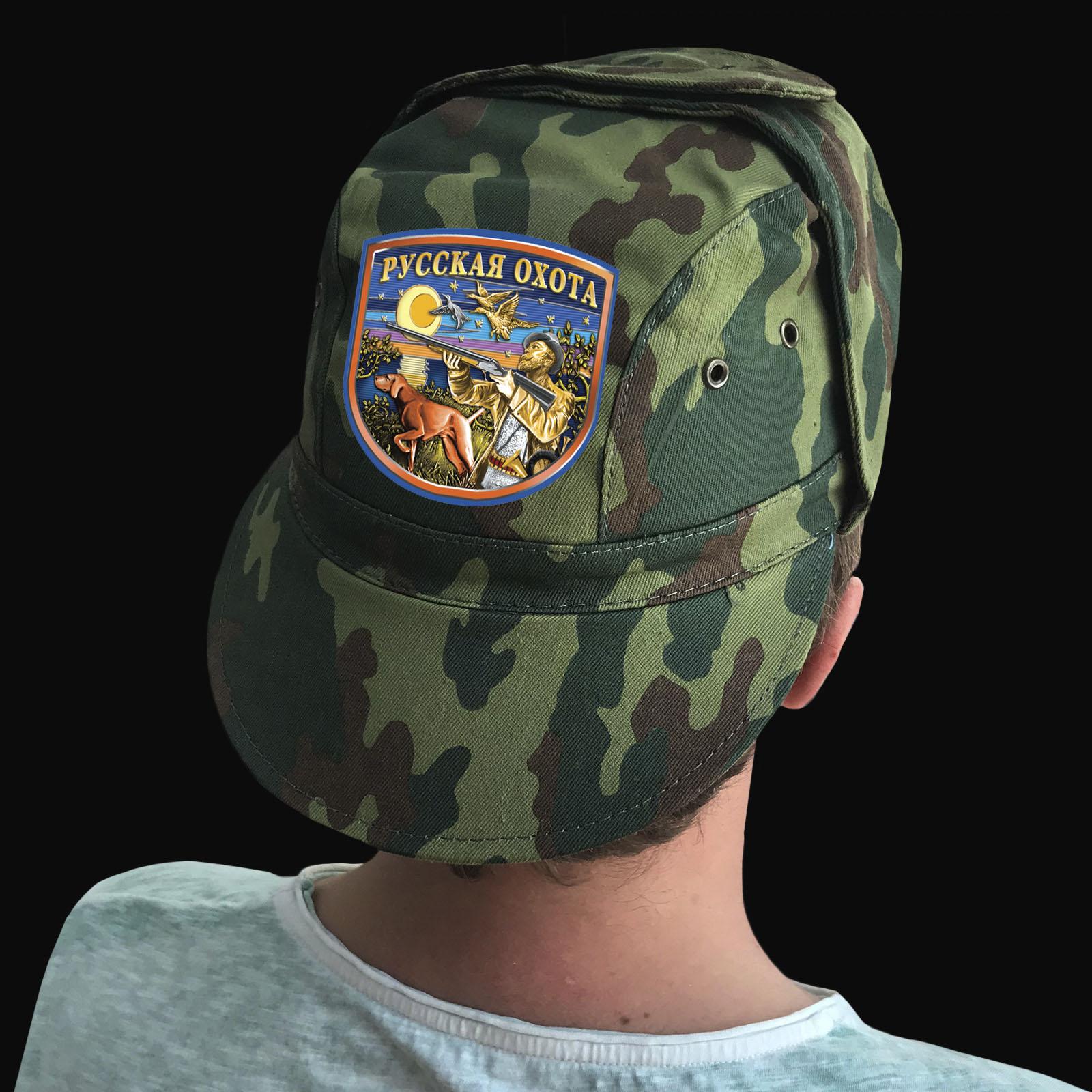 Купить тактическую кепку-камуфляж с термотрансфером Русская Охота в подарок