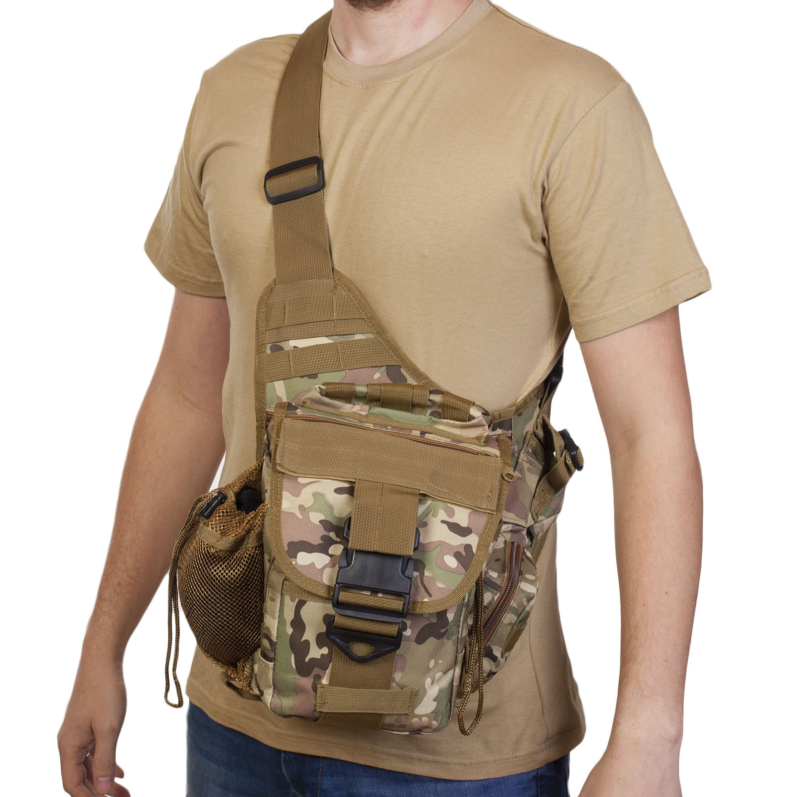 Тактическая однолямочная сумка (камуфляж Multicam)