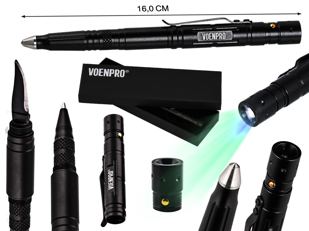 Тактическая ручка с ножом и фонариком