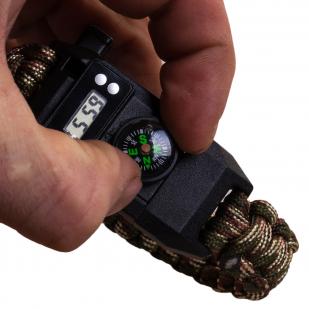 Тактический браслет с часами, скрытым ножом и компасом
