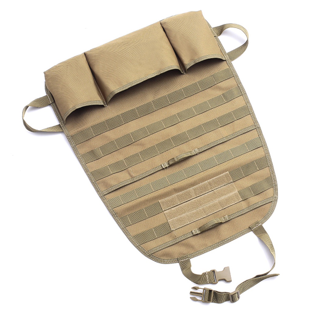 Тактический чехол-органайзер на спинку сиденья авто с подсумками (хаки-песок)