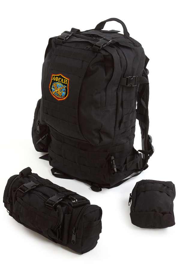 Тактический черный рюкзак с нашивкой Афган - заказать в подарок