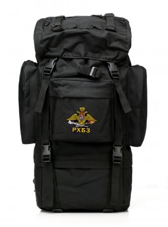 Тактический черный рюкзак с шевроном РХБЗ