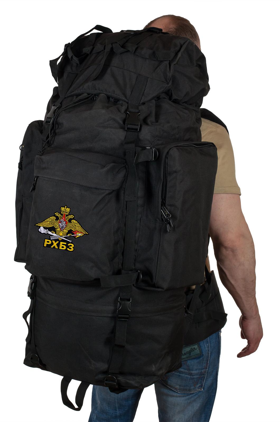 Тактический черный рюкзак с шевроном РХБЗ на 90 л