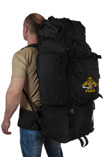 Тактический черный рюкзак с шевроном РХБЗ купить в подарок