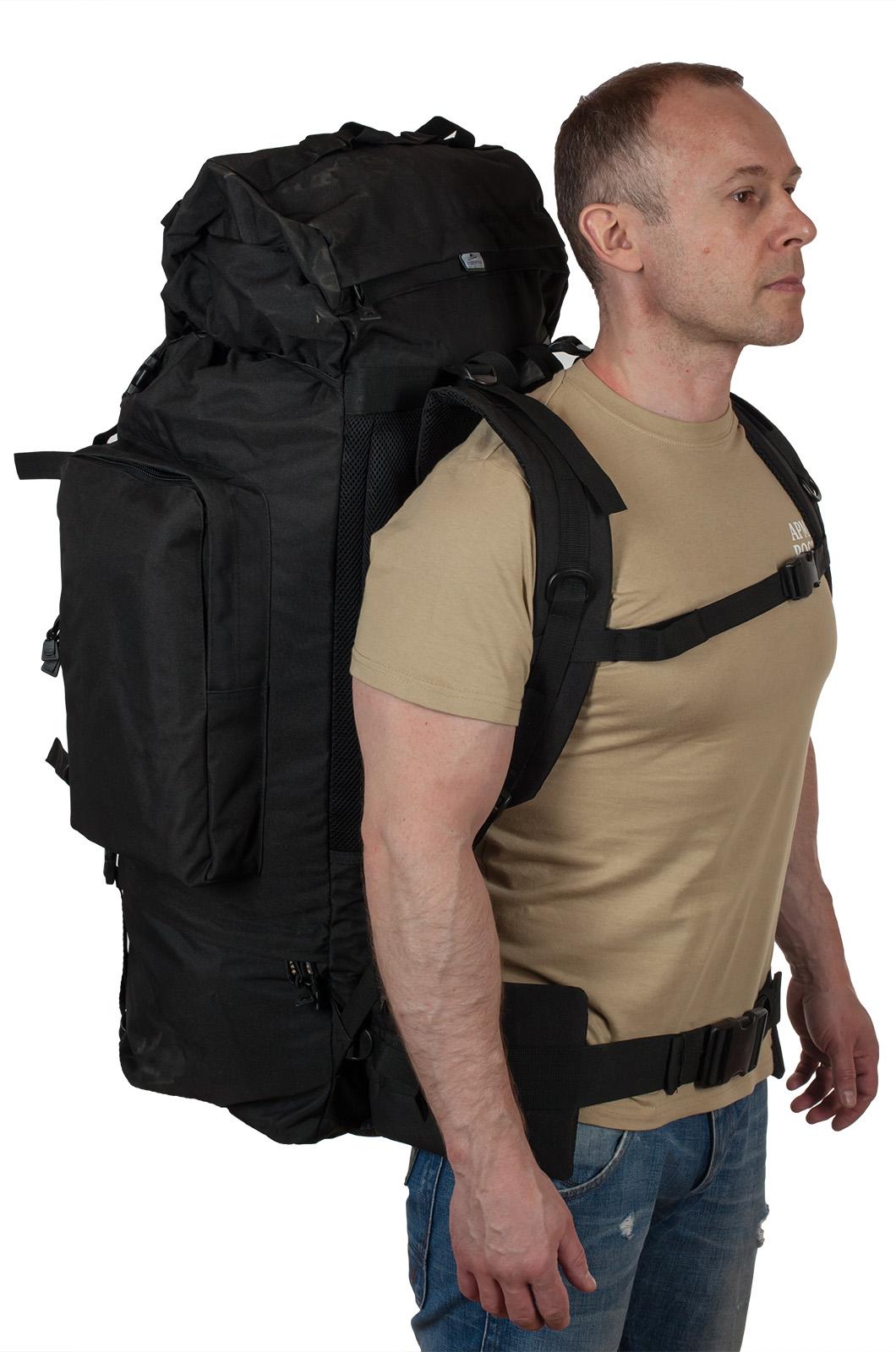 Тактический черный рюкзак с шевроном РХБЗ купить выгодно