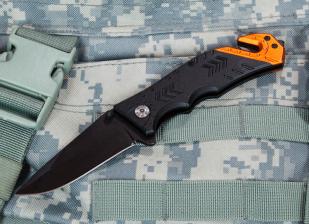 Тактический нож со стеклобоем Rescue Folder Black Blade