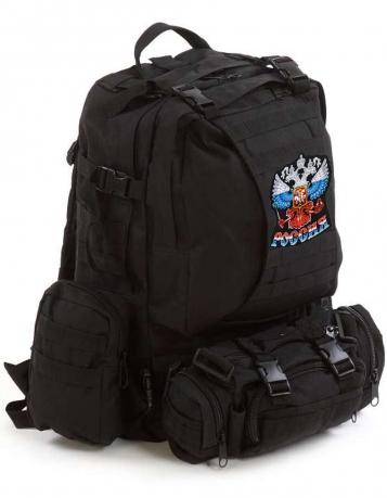 """Тактический рюкзак Assault Backpack Black с эмблемой """"Россия"""""""