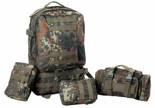 Тактический рюкзак на 3 дня с подсумками (45 литров, Flecktarn)