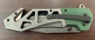 Тактический складной нож с двухцветной рукояткой и стеклобоем