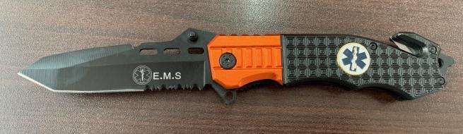 Тактический складной нож со стропорезом и двухцветной рукоятью