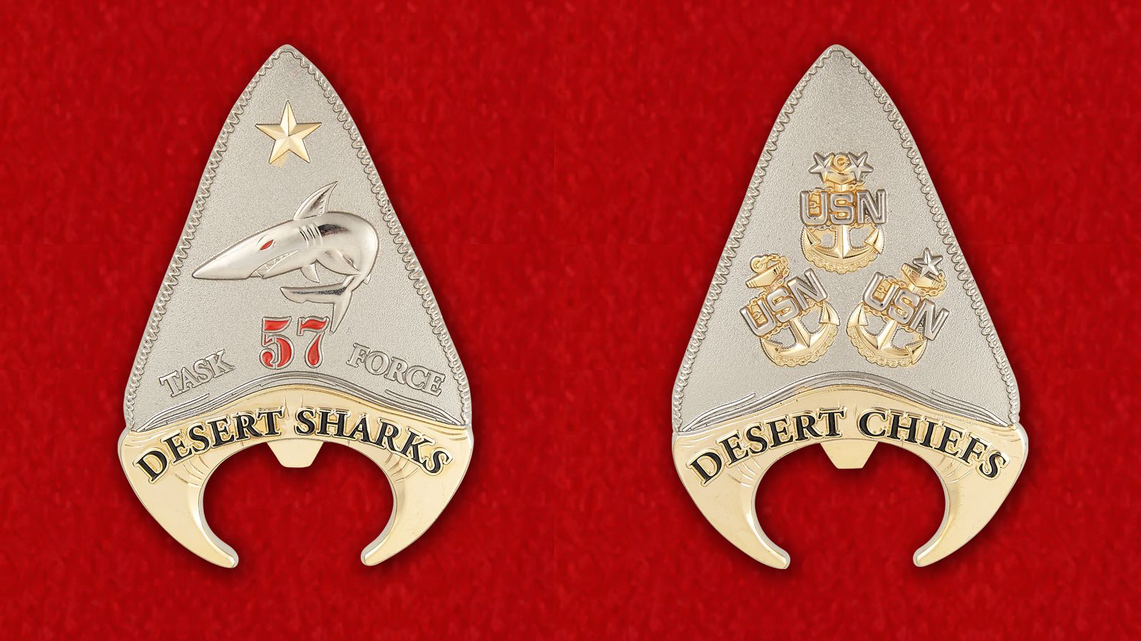 "Task Force 57 ""Desert Sharks"" Challenge Coin - obverse and reverse"