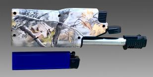 Технологичная газовая турбозажигалка в камуфляжном дизайне.