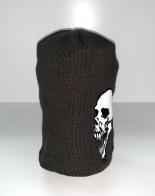 Темно-коричневая шапка с принтом Череп