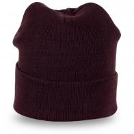 Темно-коричневая женская шапка с подворотом