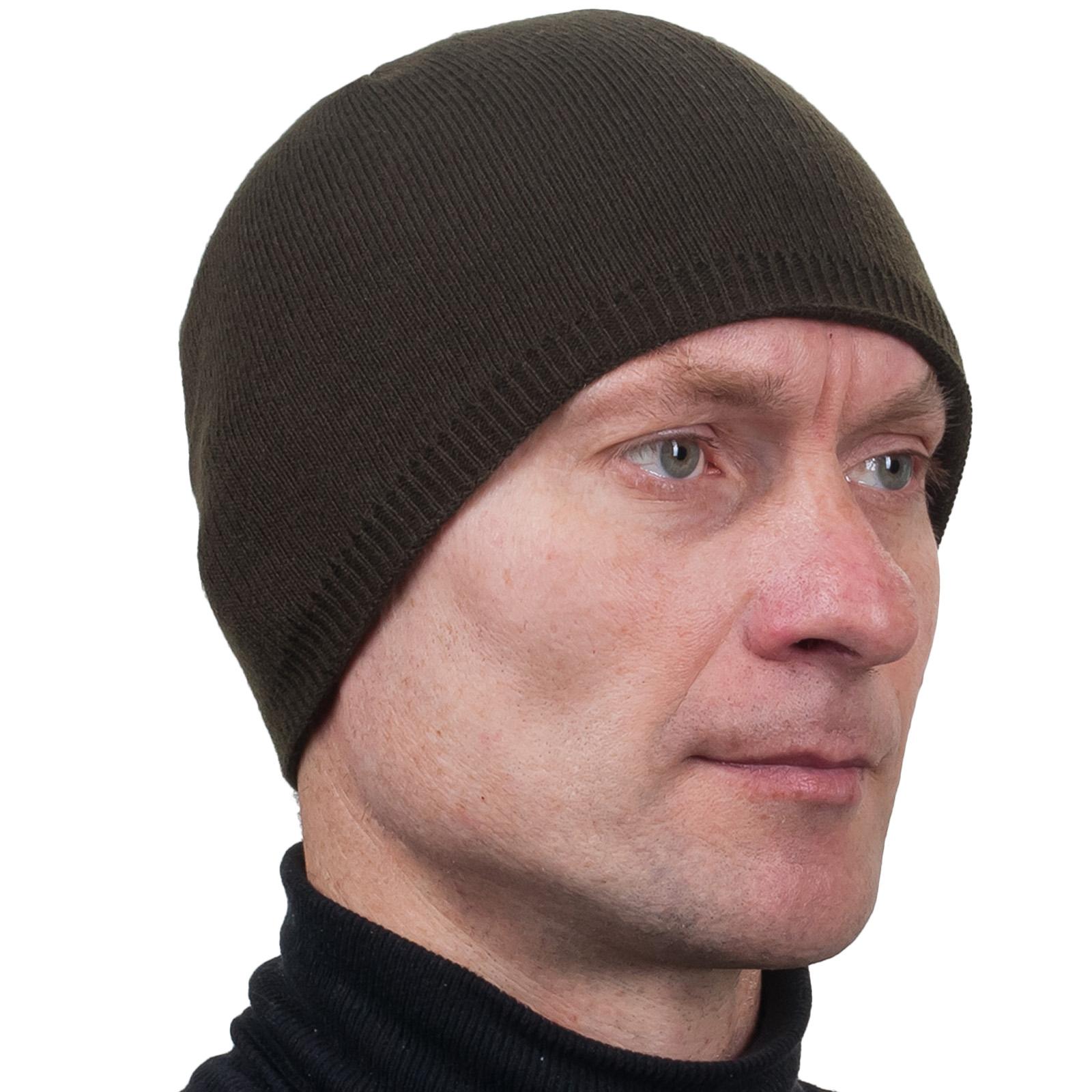 Тёмно-оливковая однотонная мужская шапка