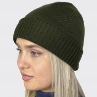 Тёмно-оливковая женская шапка