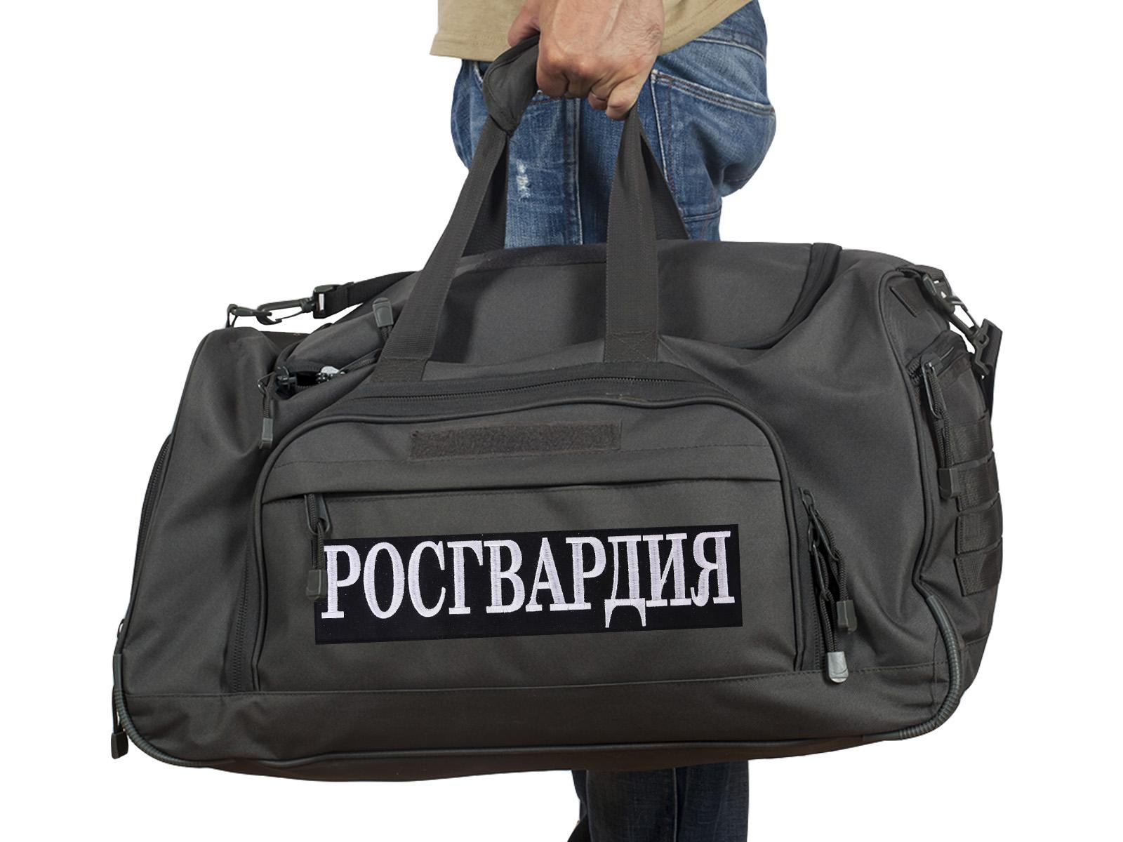 Купить темно-серую дорожную сумку 08032B с нашивкой Росгвардия по низкой цене