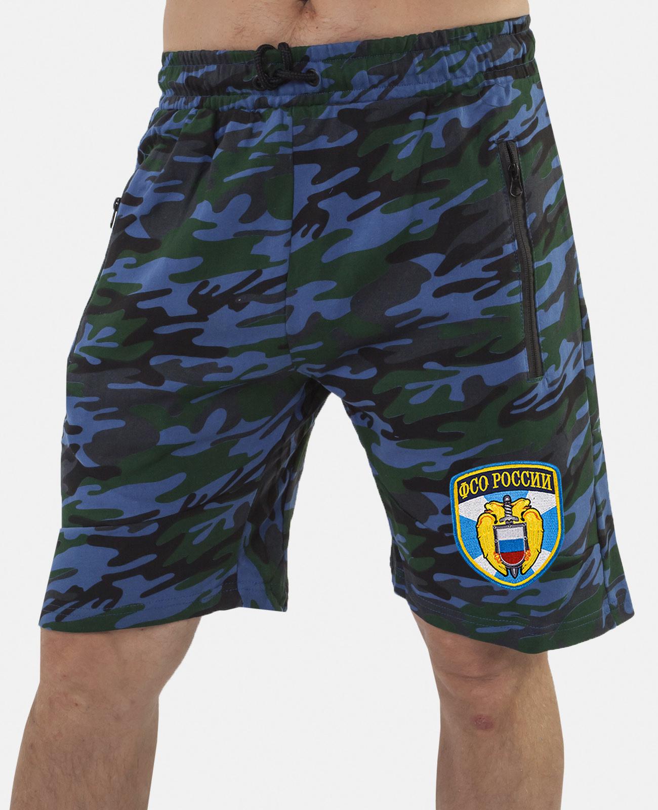 Купить темно-синие армейские шорты с нашивкой ФСО оптом выгодно