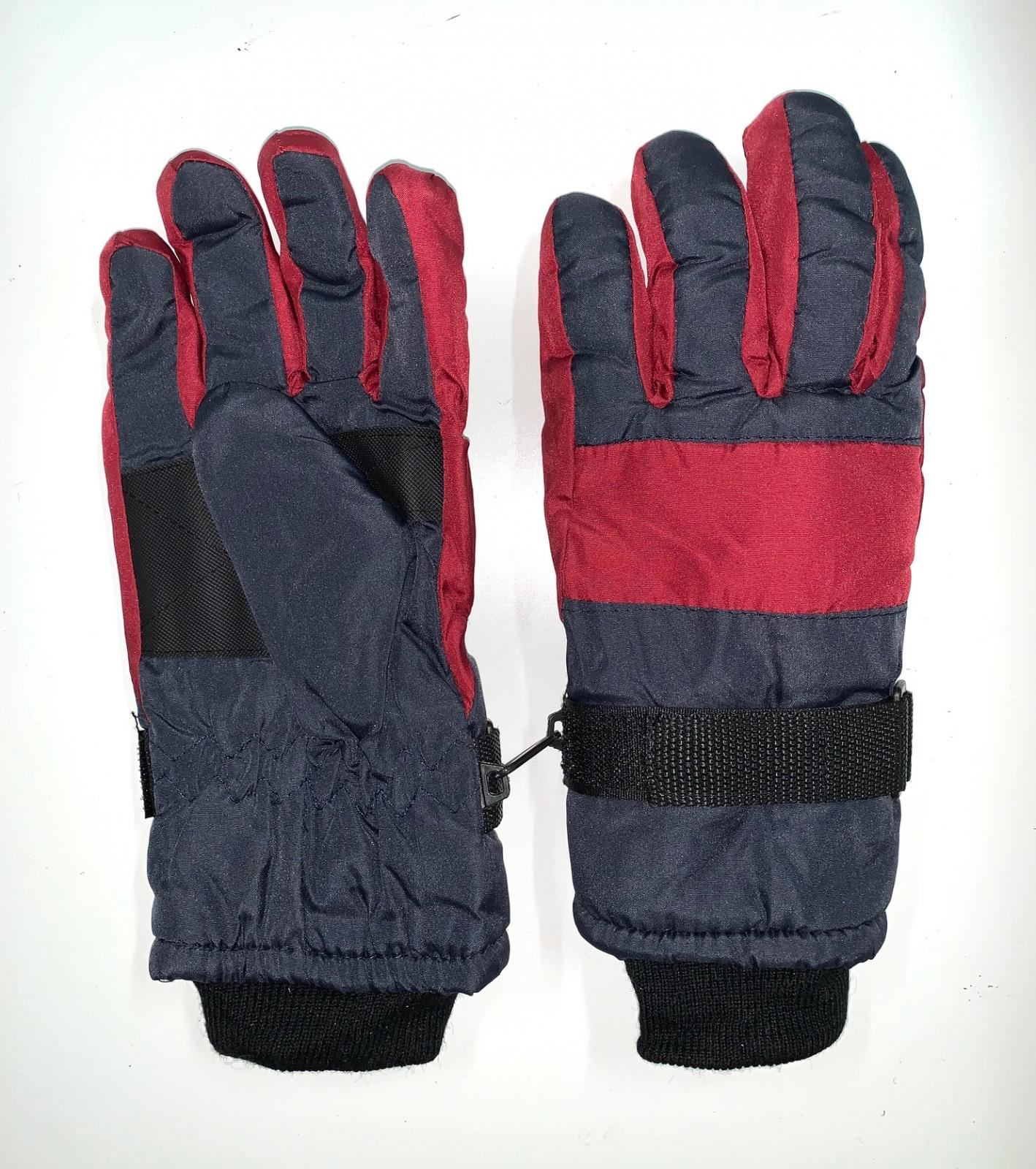 Темно-синие детские перчатки с красными вставками