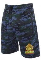 Темно-синие камуфляжные шорты с карманами и нашивкой Погранвойска