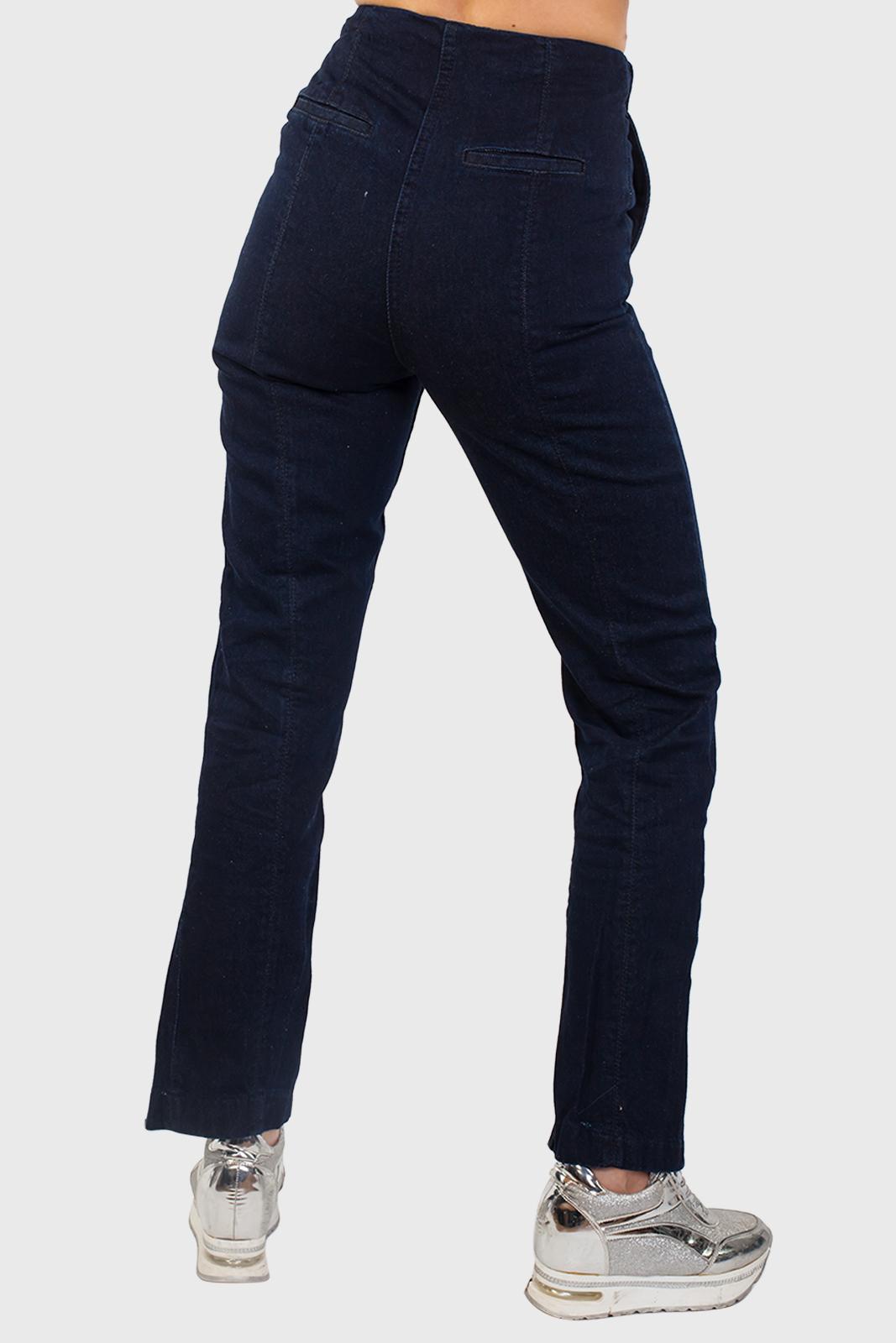 Темно-синие прямые женские джинсы оптом